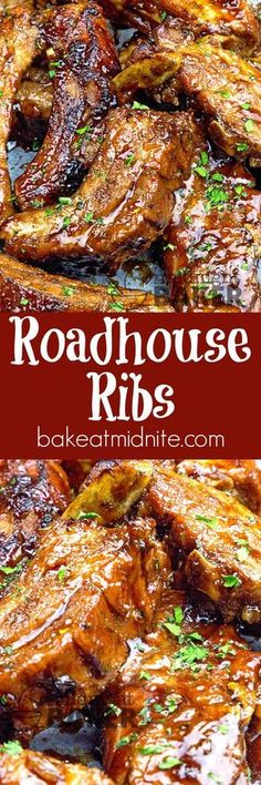 Ribs Succulent pork back ribs cooked in beer and coated with a special roadhouse sauce! Guy pleasing food at it's best!Succulent pork back ribs cooked in beer and coated with a special roadhouse sauce! Guy pleasing food at it's best! Rib Recipes, Grilling Recipes, Crockpot Recipes, Cooking Recipes, Smoker Recipes, Cooking Tips, Cooking Games, Hotdish Recipes, Carne Asada