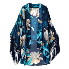 Floral Kimono Cardigan With Fringing ($23) ❤ liked on Polyvore featuring tops, cardigans, outerwear, jackets, kimono, blue top, floral print cardigan, blue cardigan, floral cardigan and floral kimono top