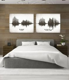 "Sound Wave Art. Personalized ""I DO"" Voice Art Canvases"