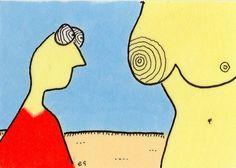 hypnotized e9Art ACEO Nude Male Gaze Cartoon Line Illustration Art Painting