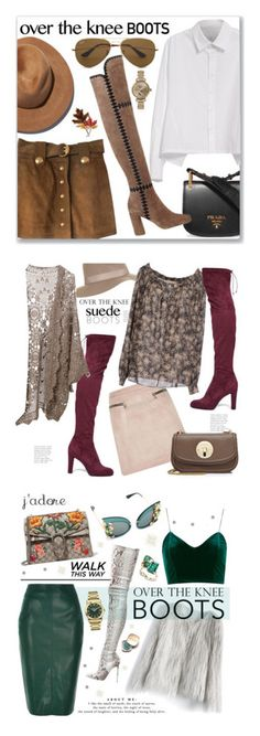"""""""Winners for Fall Footwear: Over-The-Knee Boots"""" by polyvore ❤ liked on Polyvore featuring Y's by Yohji Yamamoto, Gucci, Prada, Sigerson Morrison, Eugenia Kim, Ray-Ban, Anne Klein, Shinola, Sam Edelman and River Island"""