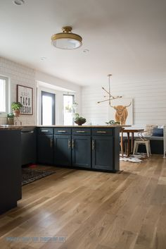 Black kitchen cabinets, brass bar pulls, shiplap, wood floors, taco tuesday print and highland cow art. Come over and see this before/after DIY Kitchen!