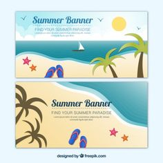 Beach banners collection Free Vector