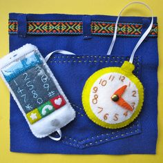 iPhone and Pocket Watch Quiet Book Page by punquin, via Flickr