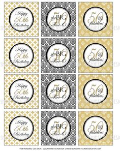 Printable 50th Birthday Gold, Black & White.  Completely classic for a 50th! - SUNSHINETULIPDESIGN