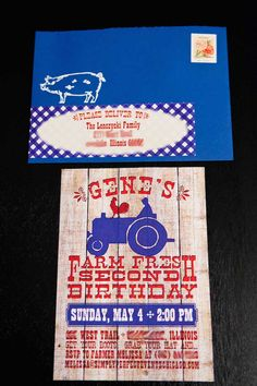 Cute farm invitation! Vintage Barnyard birthday bash with Such CUTE IDEAS via Kara's Party Ideas KarasPartyIdeas.com Full of recipes, cakes, printables, favors, etc! #karaspartyideas