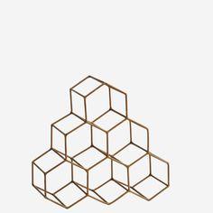 Suport metalic pentru sticle de vin - Honeycomb - Antique Brass Stackable Wine Racks, Moving Furniture, Bottle Sizes, Cabinet Makers, Bottle Holders, Honeycomb, Antique Brass, Natural Wood, Cube