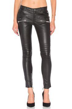 ANINE BING Biker Leather Pant in Black