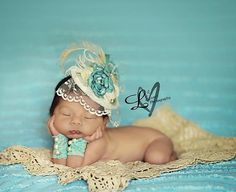 Vintage Aqua Blue, Ivory & Tan Fascinator Hat Photo Prop w/ Singed Satin Flower, Burlap Rolled Rosette, Lace Veil, Peacock, Ostrich Feathers