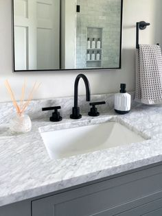 New England House Love   McGuire + Co. Kitchen & Bath Fireplace Mantel Surrounds, Fireplace Design, Small Shower Stalls, Gray And White Bathroom, Small Showers, Marble Countertops, Blue Walls, Beautiful Bathrooms, Kitchen And Bath