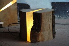 ~Artist Marco Stefanelli. Raw wood transformed into a unique lamp. Finally another use for my split fireplace logs.~