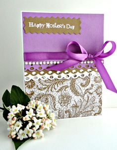 MOTHERS DAY Card Purple Violet Pearls by stephanieh02, $4.00