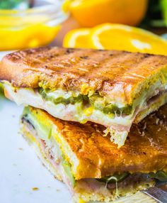 Classic Cuban sandwich with mojo-marinated pork, swiss, pickles, and lots of mustard. And also lots of butter, but let's focus on the calorie-free mustard.