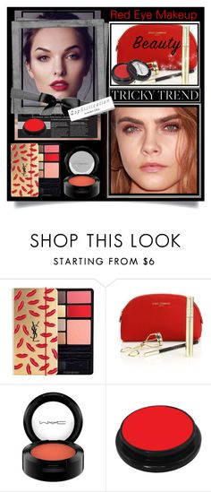 """""""Tricky Trend: Red Eye Makeup"""" by esch103 ❤ liked on Polyvore featuring beauty, Yves Saint Laurent, Dolce&Gabbana, MAC Cosmetics, Smashbox, Manic Panic, TrickyTrend, HowToWear, polyvoreeditorial and redeye"""