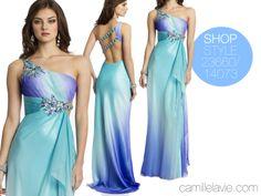 Camille La Vie One Shoulder Chiffon Ombre Prom Dress