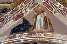 Agnolo Gaddi - Dottori della Chiesa, dett. Sant' Ambrogio - affresco - 1385 - volta Cappella Castellani - Basilica di Santa Croce a Firenze.
