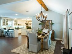 Designers Chip and Joanna Gaines created a seamless flow between the kitchen and dining area that is perfect for entertaining.