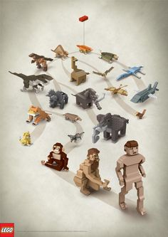 The Print Ad titled EVOLUTION was done by J. Walter Thompson Singapore advertising agency for brand: LEGO in Singapore. Darwin's Theory Of Evolution, Evolution Science, Free Child Care, Lego Birthday, Legoland, Lego Creations, Print Ads, Creative Director, Cool Toys