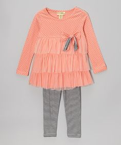 Take a look at this Carnation Briana Tiered Tunic & Stripe Leggings - Toddler & Girls by Nireanna on #zulily today!