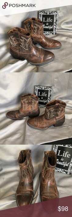 Ariat Billie Ankle Cowgirl Boots Ariat Billie cowgirl boots. Gently used only a few times.  In great condition. They have a scuff in the outside left ankle shown in pic. Please see pics for broken in marks. Comes with original box. Ask questions!! Ariat Shoes Ankle Boots & Booties