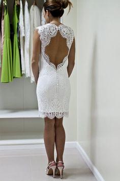 Lace wedding dress in knee length with keyhole made using a gorgeous designer Chantilly lace with exquisite endings which is limited production.