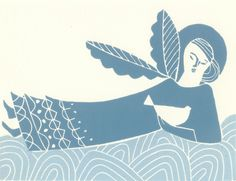 Angel and Bird of Peace- Original Lino Print by Giuliana Lazzerini £20.00