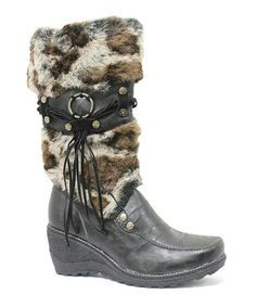 Take a look at this Black Chloe Wedge Snow Boot by LAMO on #zulily today!
