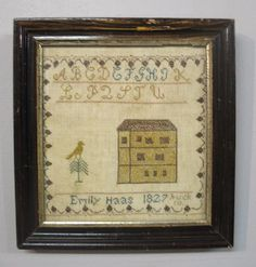 Partial alphabet, bird and house with a border. Designed and stitched by Miss Emily Haas of Buck Co. Pennsylvania in the year 1827