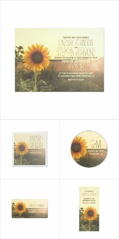 Sunflower Romantic Rustic Wedding Invitations #wedding #sunflowers #weddinginvitations