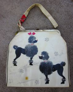 Large Plastic Vintage Poodle Rhinestone Purse