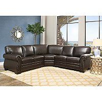 Devon & Claire Del Rey Right Facing Dark Brown Sectional Image 2 of 7 Brown Sectional, Large Sectional Sofa, 3 Piece Sectional, Brown Sofa, Sofa Set, Leather Sectional Sofas, Couch, Brown Cushions, Foam Cushions