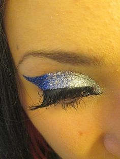 Silver and blue sparkle. Cheer makeup.
