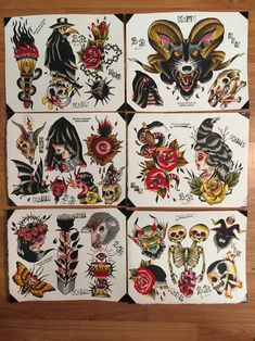 6 page flash set done with water colors,, printed on card stock measures Sanduhr Tattoo Old School, Old School Tattoo Designs, Tattoo Flash Sheet, Tattoo Flash Art, Tattoo Ink, Arm Tattoo, Deer Tattoo, Raven Tattoo, Samoan Tattoo