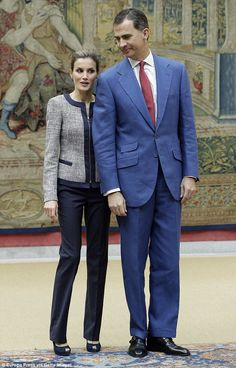 Suited and booted: King Felipe VI of Spain and Queen Letizia of Spain both look smart as they attend an audience with the Social Solidarity Association at El Pardo Palace in Madrid earlier this week