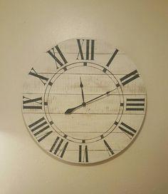 "Items similar to ""Riley "" farmhouse wall clock - Large wall clock - Big clock - Oversized wall clock - farmhouse decor - on Etsy Farmhouse Wall Clocks, Kitchen Wall Clocks, Rustic Wall Clocks, Wood Clocks, Big Clocks, Large Clock, Farmhouse Style, Farmhouse Decor, Country Decor"