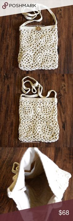 CROCHET BAG Bohemian Bucket Mini Crossbody Saddle One Size. New with tags.   - Beautiful crochet crossbody bag featuring floral detailing & button closure at front.  - Long braided crochet strap can also be tucked in to convert this bag to a clutch. - Natural in color.  - Interior is lined with a single pocket.  Cotton, Acrylic.  Imported.    {Southern Girl Fashion - Closet Policy}   ✔Bundle discount: 20% off 2+ items.   ✔️ Price is firm.   ❌ No trades, paypal. Southern Girl Fashion Bags…