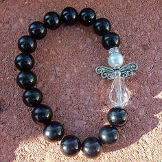 Black beaded angel bracelet by SimplyGlowingGifts on Etsy, $10.00