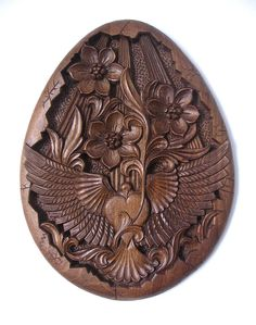Oval hand carved wood panel New Beginning TO BE by dimitarmanev, $470.00