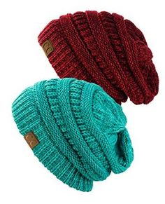 fff5c1fc38f Exclusive Unisex Two Tone Warm Cable Knit Thick Slouch Beanie Cap Tone Mint    Blue Teal)  One Size Fits Most Soft Acrylic