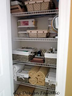 bathroom closet organized