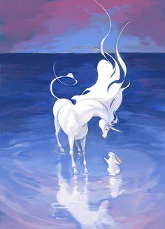 personal work / last unicorn fanart Mythical Creatures Art, Mythological Creatures, Magical Creatures, Fantasy Creatures, Unicorn Illustration, Illustration Art, Horse Drawings, Wolf Drawings, Unicorn Pictures