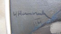 Signering van Olieverf op doek van Theo Haanebrink; Titel: Herenportret; Jaartal: 1961; Afmetingen: 100x80 (zonder), 120x100 (met lijst); Gesigneerd