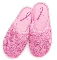Breast Cancer Rosette Slipper- Plush footbed with rosette upper and Pink Ribbon symbol on sole.  Regularly $12.00, buy Avon Fashion online at http://eseagren.avonrepresentative.com