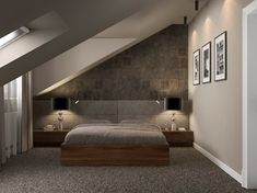 Turning the attic into a bedroom with a modern contemporary style interior is very possible. Modern contemporary interior design is very flexible without being Loft Room, Bedroom Loft, Modern Bedroom, Master Bedroom, Attic Bedrooms, Minimalist Apartment, Attic Spaces, New Homes, House Design