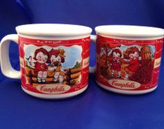 Set of 2 Campbell's Mugs Cups FOUR SEASONS Soup Kids Fall Winter Spring Summer