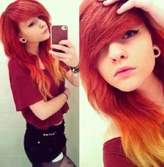 Red orange and yellow scene hair love hair but not ears My Hairstyle, Pretty Hairstyles, Emo Girl Hairstyles, Scene Hairstyles, Dye My Hair, New Hair, Black Emo Hair, Cute Scene Girls, Pelo Emo