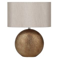 This ceramic table lamp base with a 'hammered' texture and bronze finish would be the statement of any room. Complete with its own taupe taffeta oval shade, this lamp is perfect for lighting any living space. Metal Table Lamps, Table Lamp Base, Ceramic Table Lamps, Lamp Bases, Light Table, Norman Rockwell, Pineapple Lamp, Copper Lamps, Home Decor Sale