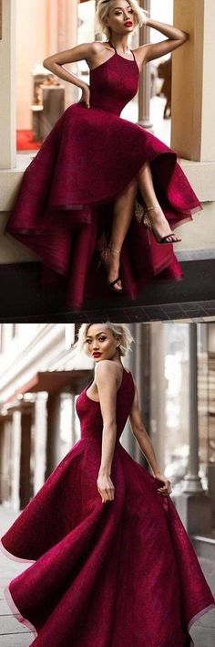 2019 Burgundy/Maroon Lace Halter Prom Dress High Low, This dress could be custom made, there are no extra cost to do custom size and color High Low Prom Dresses, Junior Bridesmaid Dresses, Prom Party Dresses, Trendy Dresses, Elegant Dresses, Homecoming Dresses, Evening Dresses, Short Dresses, Fashion Dresses