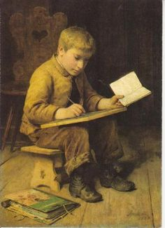 Boy Writing  Albert Anker