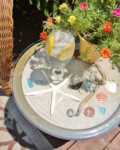 Blumenkübel Beistelltisch umwandeln diy idee muscheln sand glasplatte